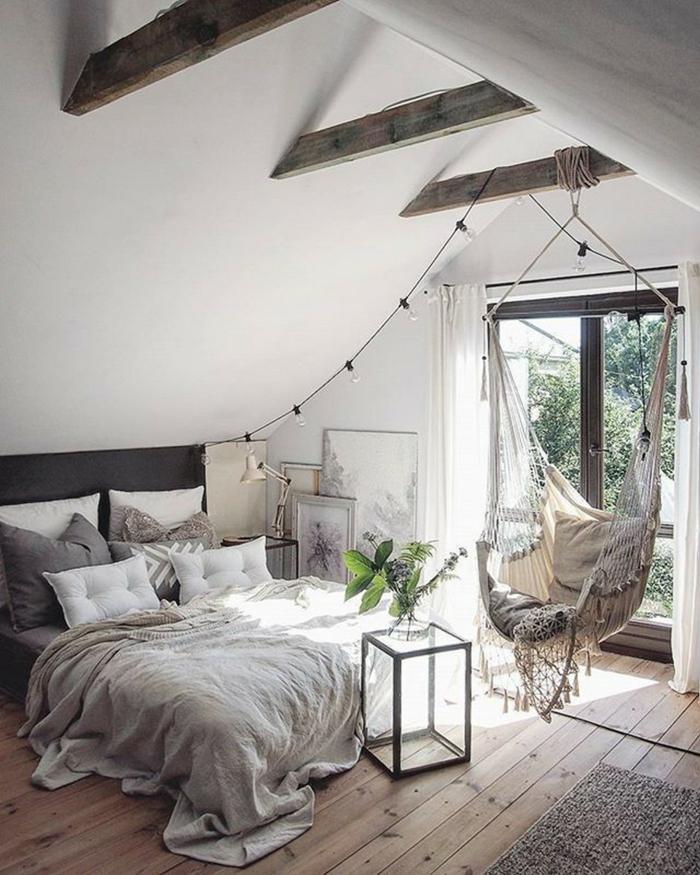 design chambre à couchet et chaise hamac