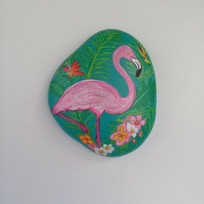 flamant rose peinture sur galets