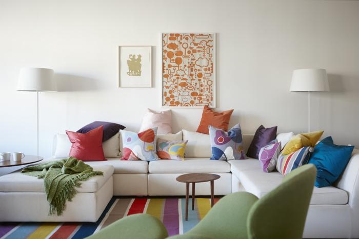 idées déco salon pour vous inspirer, combiner les coussins et le tapis