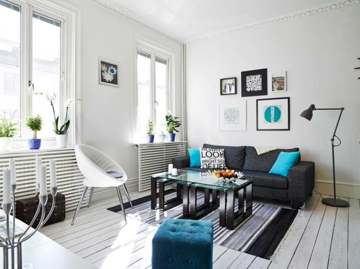 idées déco salon pour un intérieur moderne en gris et bleu