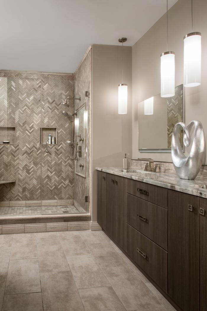 idée originale pour la salle de bain en couleur taupe