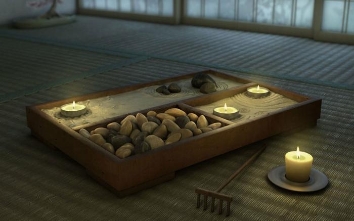 mini jardin zen avec bougies