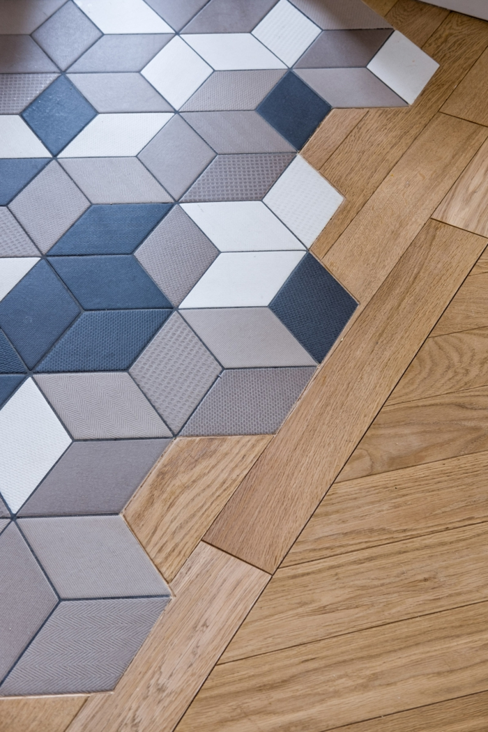 Booster sa d co avec un m lange parquet carrelage for Carrelage hexagonal parquet