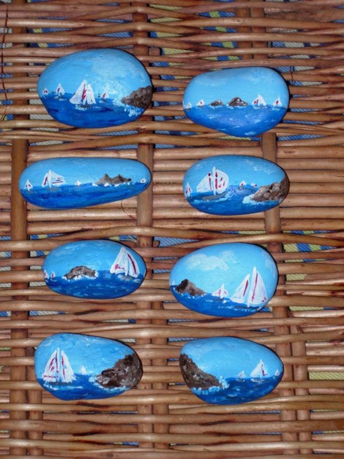 bateaux peinture sur galets
