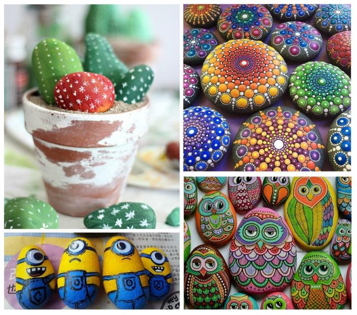 minions, plantes et animaux peinture sur galets
