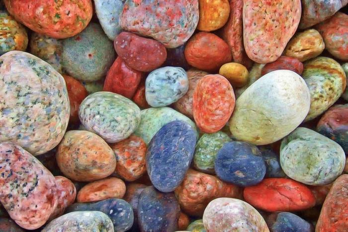 pierres colorées pour faire jardin zen miniature