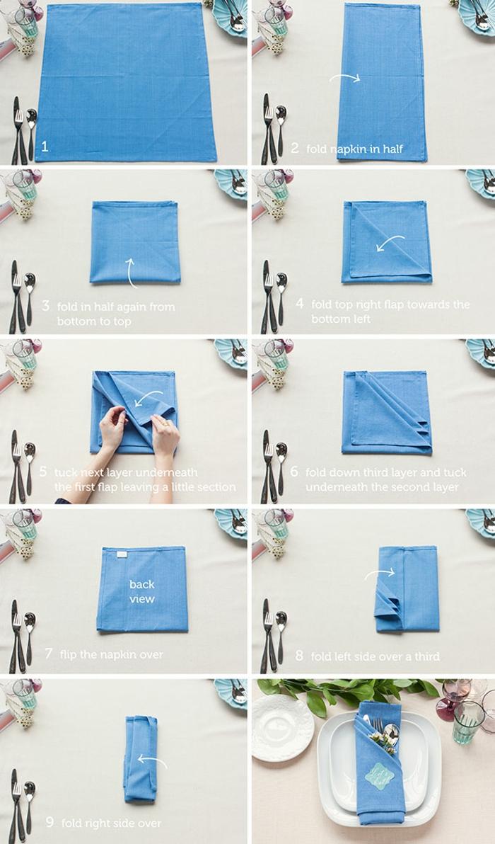 pliage serviette pochette couvert