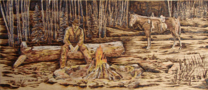 pyrogravure forêt