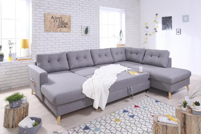 salon joli canapé d ' angle convertible gris