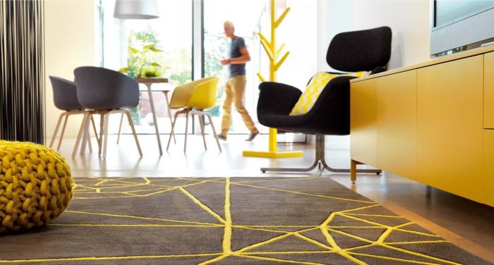tapis moderne en taupe et jaune