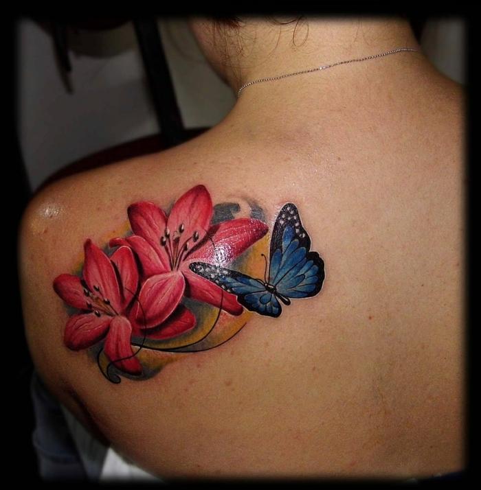 tatouage lys dos