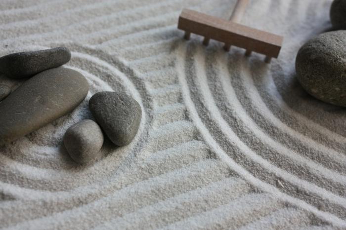 idée comment décorer la pièce avec un jardin zen miniature