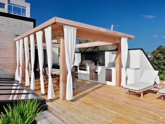 aménagement extérieur cuisine pergola en bois