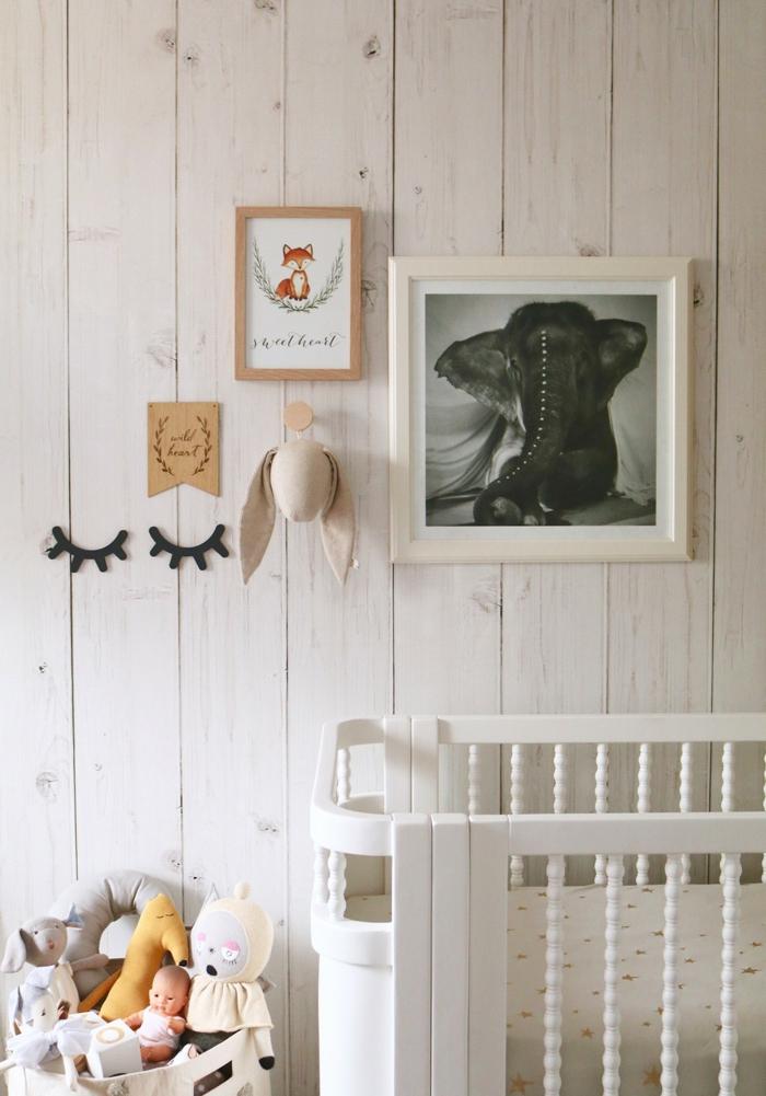 bois papier peint trompe l' oeil chambre bébé