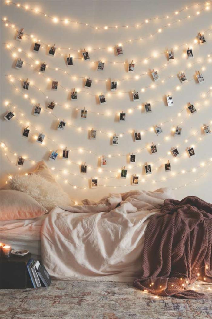 chambre déco avec guirlande lumineuse