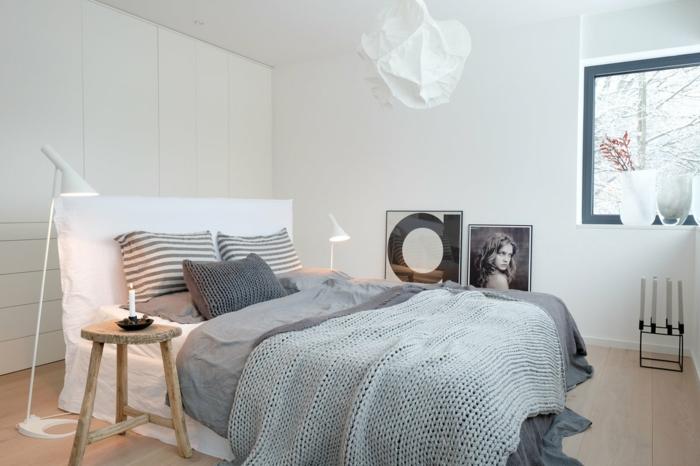 chambre scandinave en blanc et gris