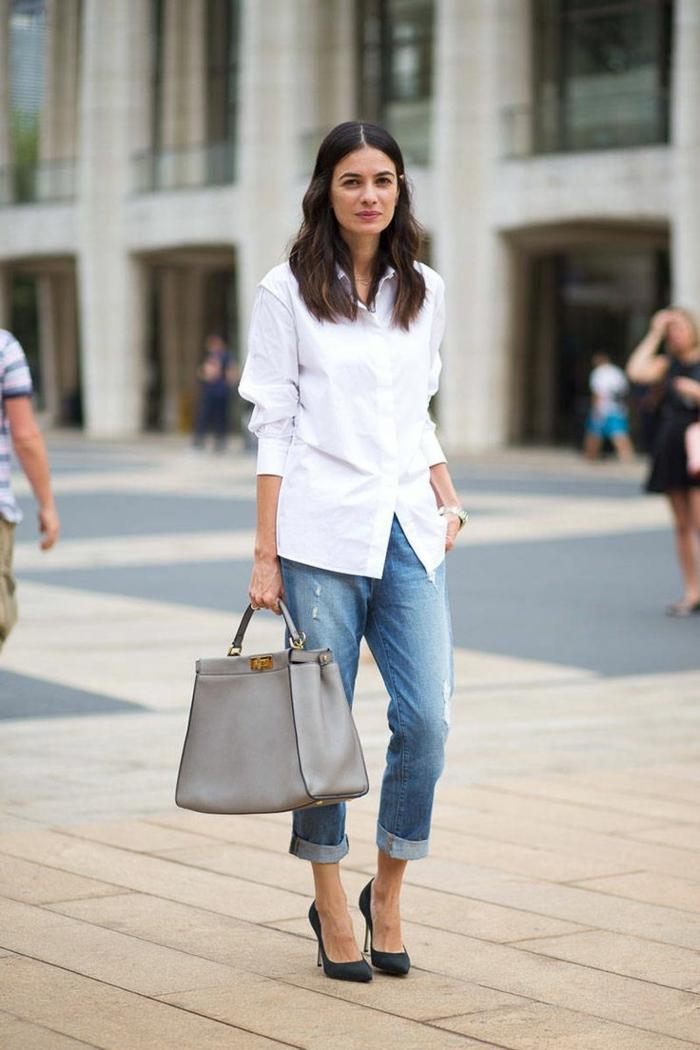 chemise blanche femme jean en bleu