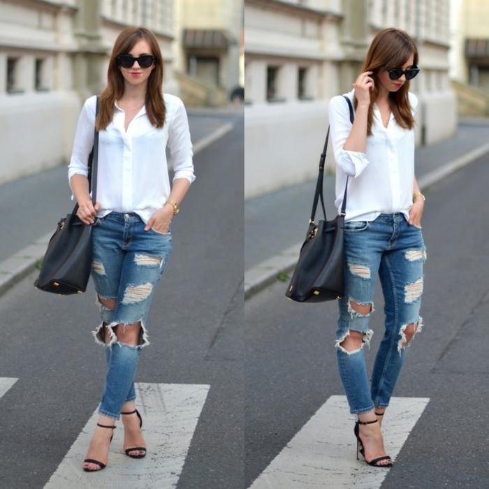 combinaison chemise blanche femme et jean