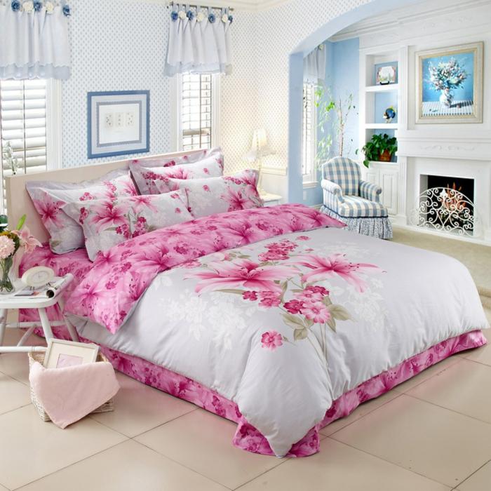 couette de coton et oreillers motif fleur de lis