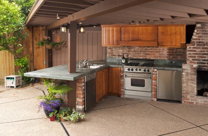 cuisine bois et inox extérieur