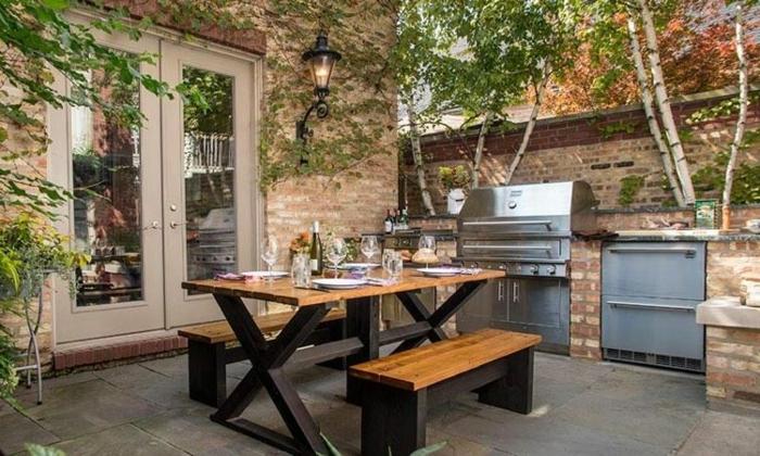 cuisine d'été extérieure arrière cour