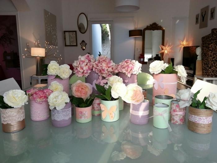 déco florale boîtes de conserves