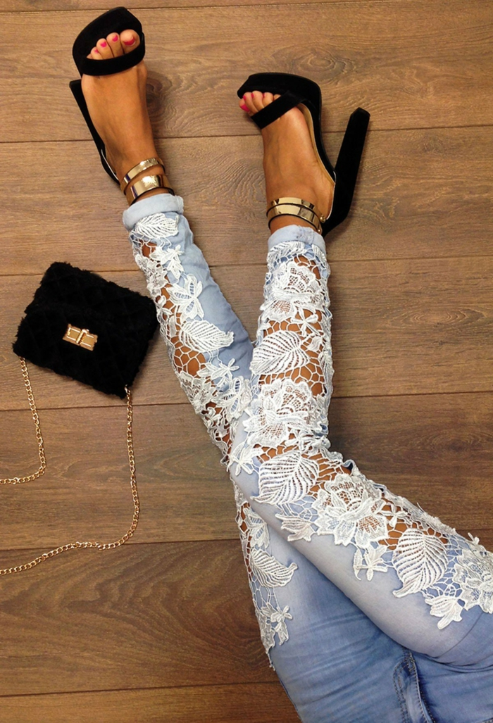 décoration tendance dentelle pour les jeans