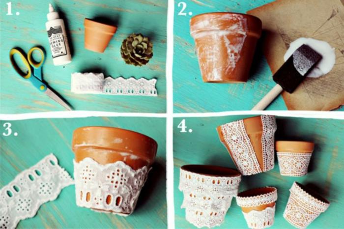 décoration tendance avec dentelle pour un pot