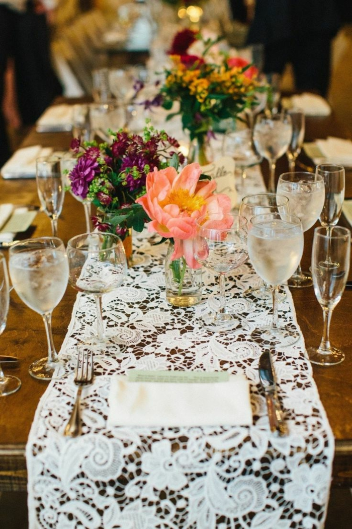 dentelle déco table- décoration tendance