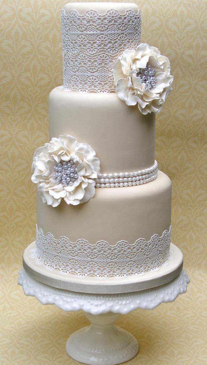 faire à la maison un joli gâteau avec dentelle- avec un accessoire cuisine