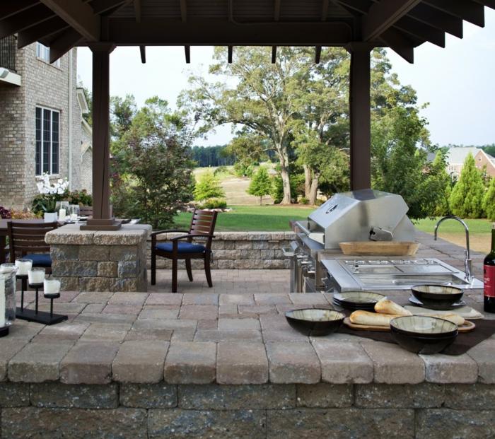 idée cuisine extérieure en bois et pierres