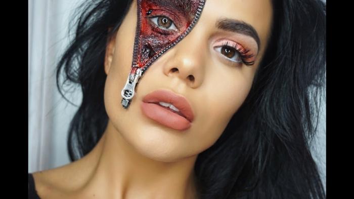 idée originale avec un zipper maquillage halloween femme