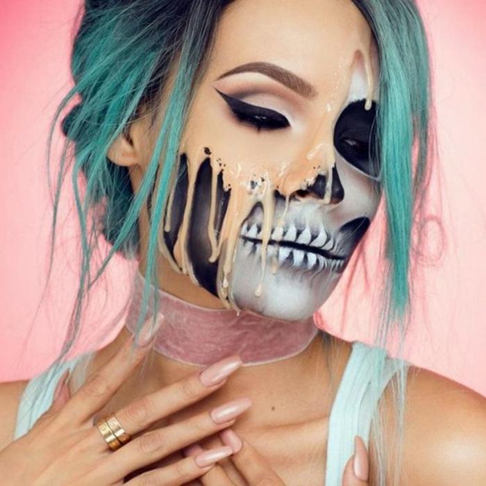 squelette pour un maquillage halloween femme