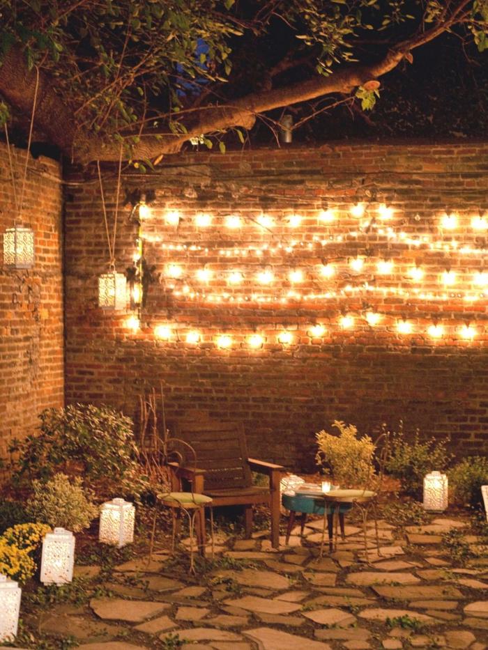 idée pour votre jardin guirlande lumineuse