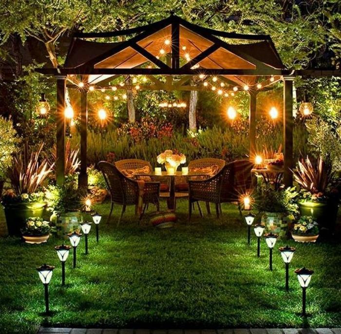 jardin déco avec guirlande lumineuse