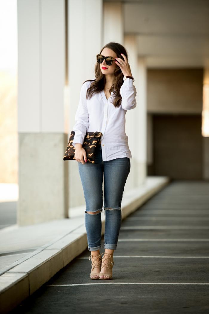 jean et chemise blanche femme