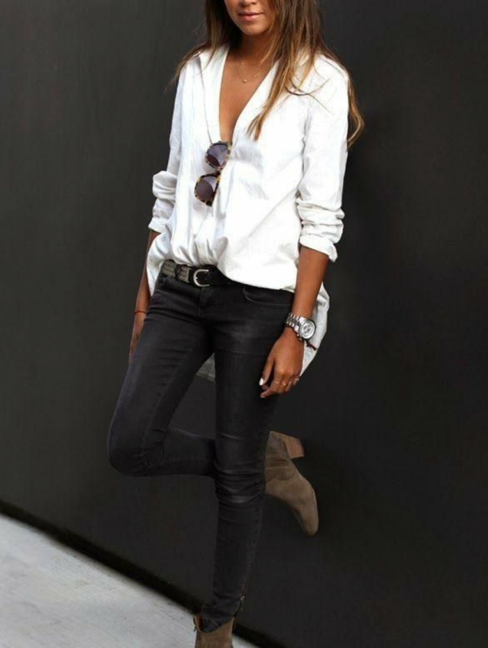 jean gris et chemise blanche femme idée