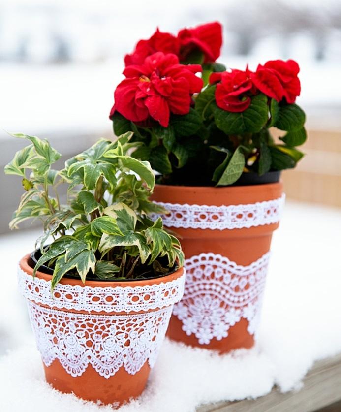 jolis pots de fleurs avec une décoration tendance