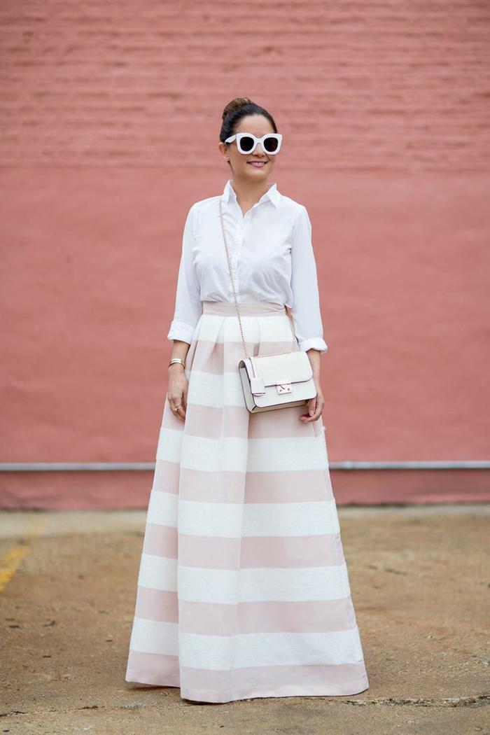 jupe longue et chemise blanche femme