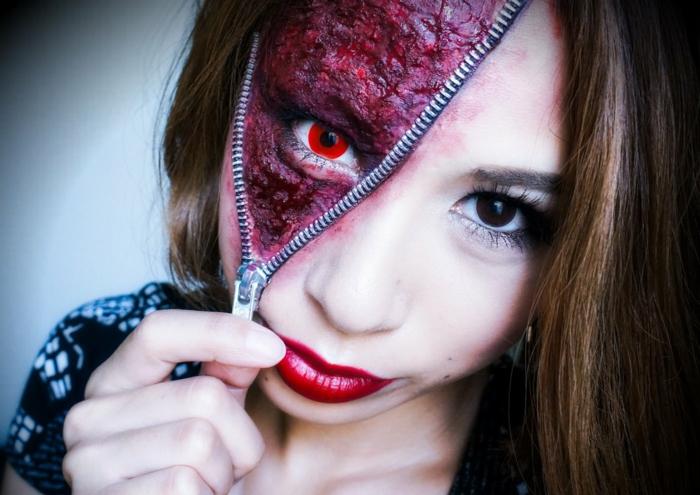 maquillage halloween femme zipper