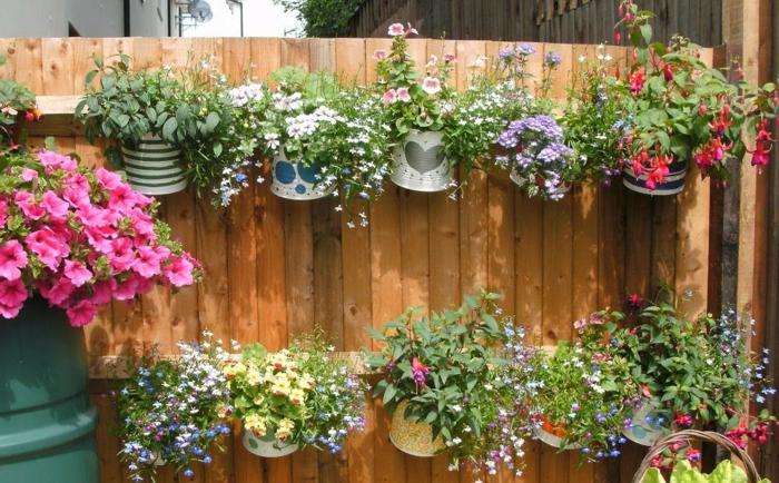 mur végétal boîtes de conserves