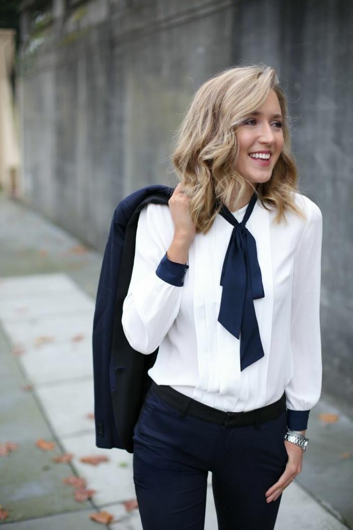 pantalon noir et chemise blanche femme idée