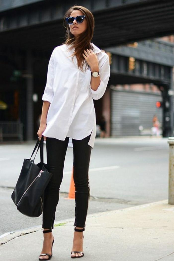 pantalon noir et chemise blanche femme