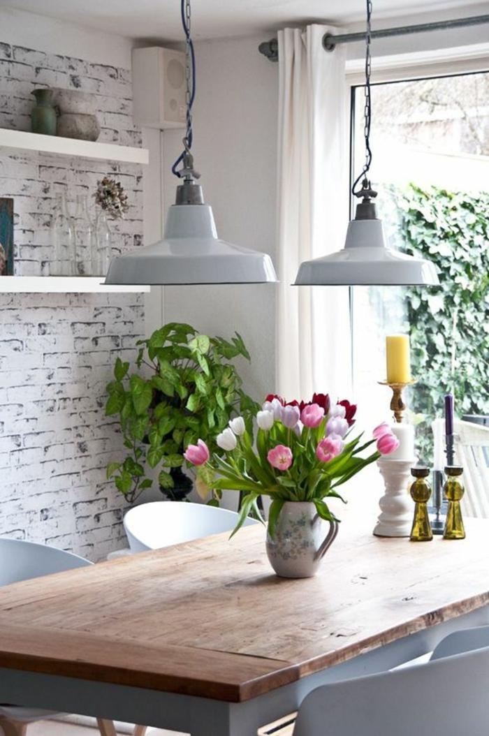 papier peint trompe l' oeil briques blanches pour votre cuisine