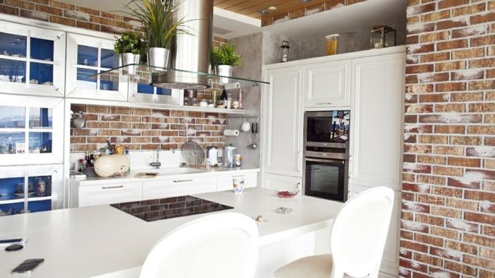 papier peint trompe l' oeil briques pour votre cuisine