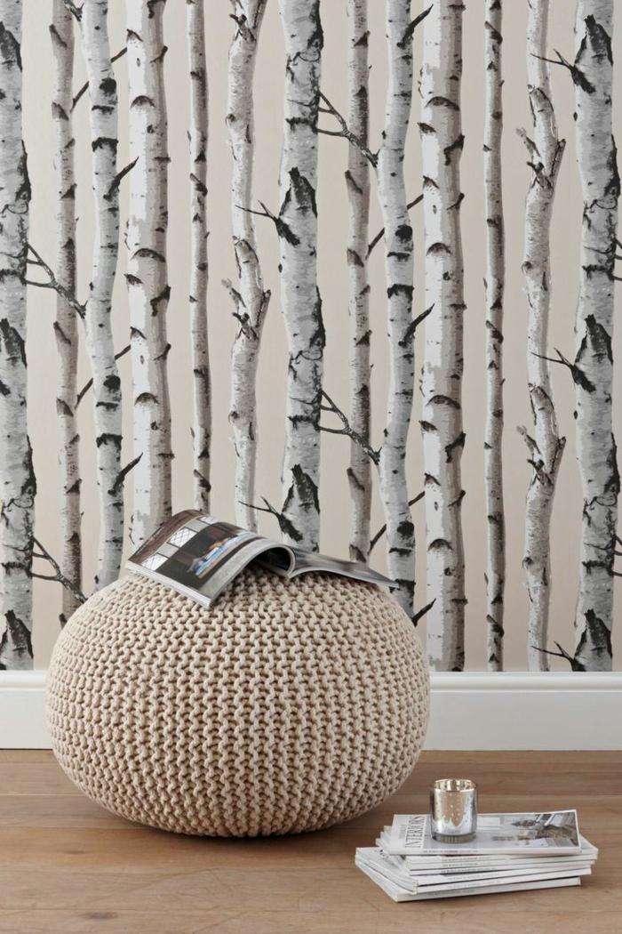 papier peint trompe l' oeil imitation forêt