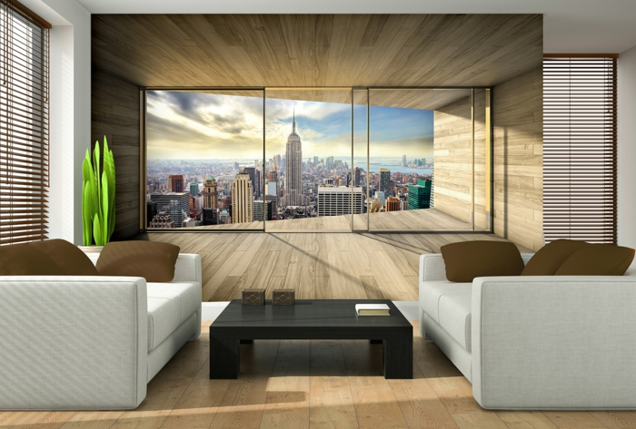 papier peint trompe l oeil vue vers new york
