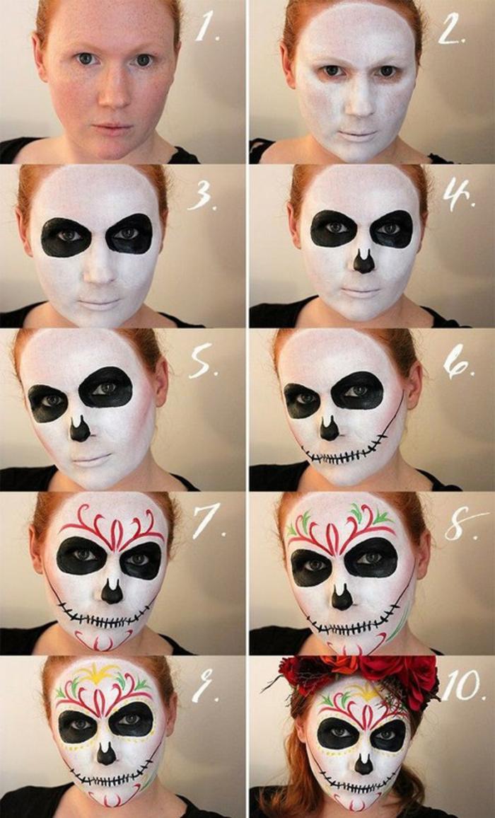 pas à pas idée maquillage halloween femme