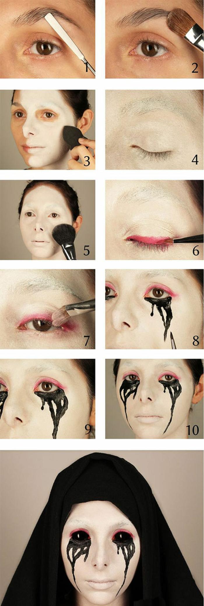 pas à pas maquillage halloween femme
