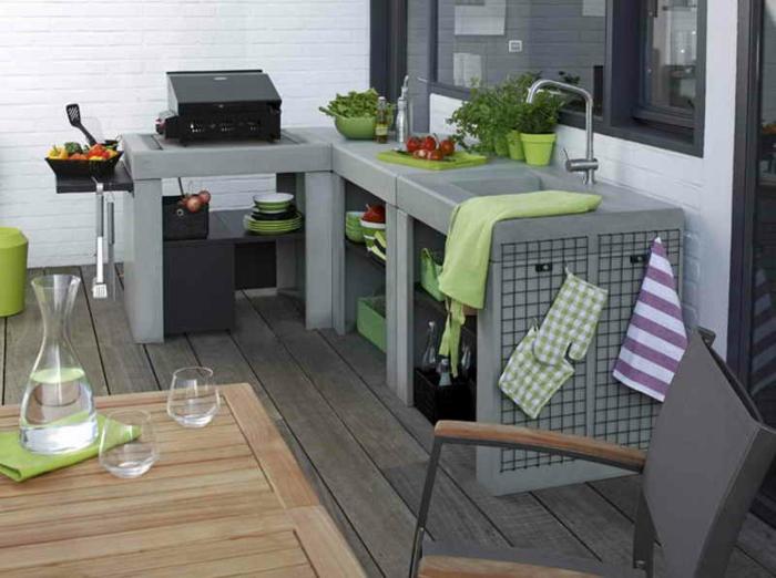 petite cuisine extérieure terrasse